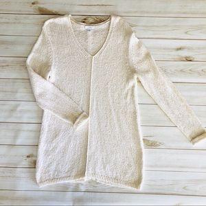 J. Jill cream v-neck tunic cotton blend sweater